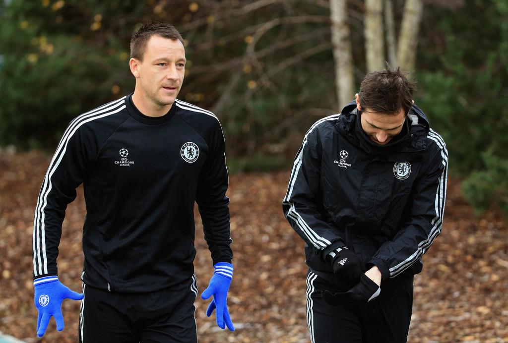 John Terry dan Frank Lampard di sesi latihan.